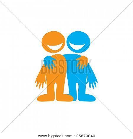 Dostluk sembolü. Mutlu arkadaşlar. Vektör işareti.