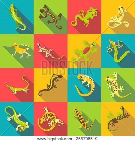 Different Lizard Icons Set. Flat Illustration Of 16 Different Lizard Icons For Web