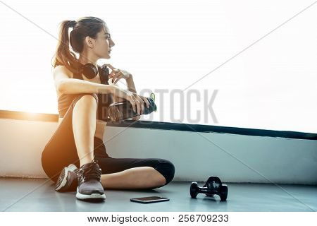 Asian Woman Exercising In The Gym, Young Woman Workout In Fitness For Her Healthy And Office Girl Li