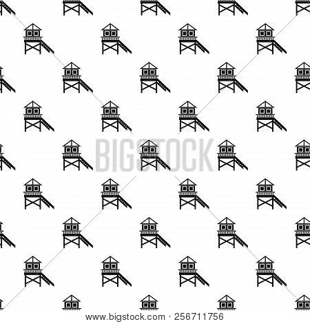 Rescue Booth On Beach Pattern. Simple Illustration Of Rescue Booth On Beach Pattern For Web