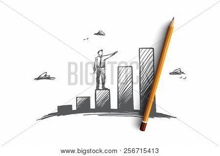 Investments, Profit, Prospect, Business, Growth Concept. Hand Drawn Isolated Vector.