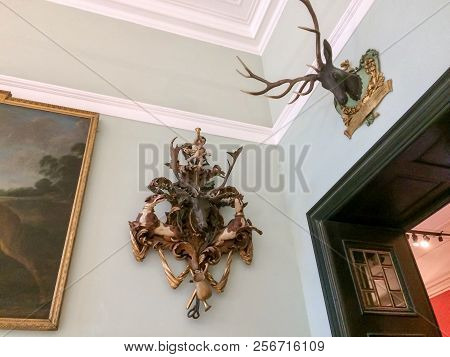 Austria, Vienna, 15/04/2017 Hunting Trophies On The Wall Of The House, Hunting Trophies On The Wall,