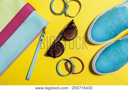 Stylish Accessories For Ladies. Fashionable Sunglasses, Colored Bag, Aquamarine Shoes And Little Bel