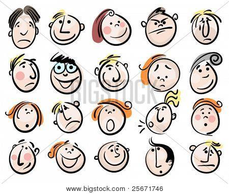 cartoon face vector people