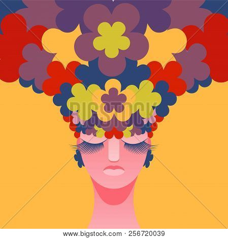 Woman's Head With Flowers Instead Of Hair. Vector