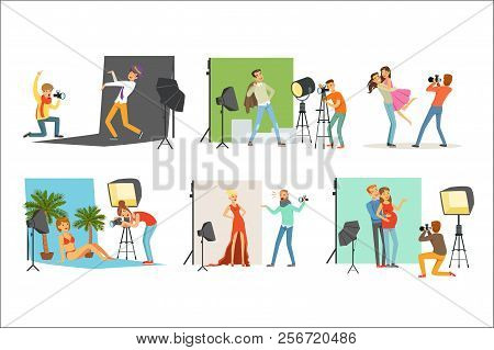 Photo Studio Set, Photographers Taking Pictures Of Different People With Professional Photographic E