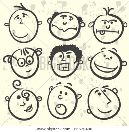 Cartoon men face