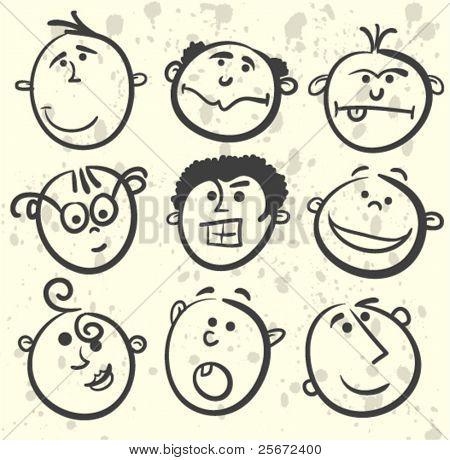 Cartoon men face