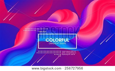 poster of Abstract Modern Background with Trendy Vibrant Gradient. Flow Shapes in Red and Blue Colors. 3d Background with Wave Liquid for Flyer, Poster. Bright Vector Background with Gradient Fluid Elements.