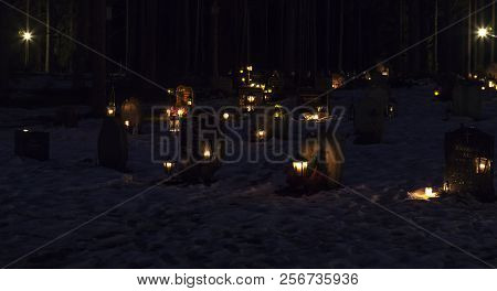 Umea, Sweden On November 03. Cemetery Decorated With Candles And Lamps For All Saints Day At Night O