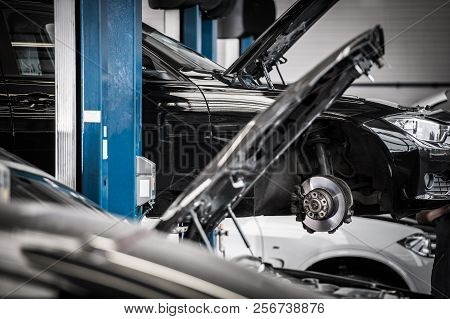 Broken Cars In The Certified Auto Service. Automotive Industry. Vehicle Repairing.