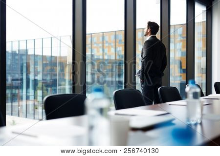 Back view portrait of successful businessman standing by window and looking outside with his hands in pockets, copy space