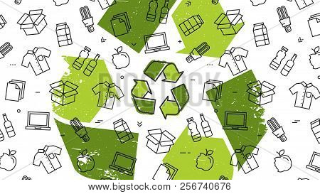 Grunge Recycle Sign With Recyclable Products Vector Illustration. Recyclable Things To Reuse: Clothe