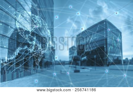 Double Exposure Of Stock Graph Market Exchange Data Trend Of Graph, Candle Stick Chart With Night Ci