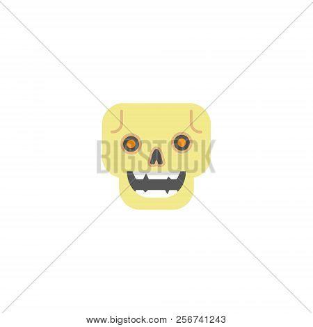 Color Simple Vector Flat Art Square Cartoon Skull Icon