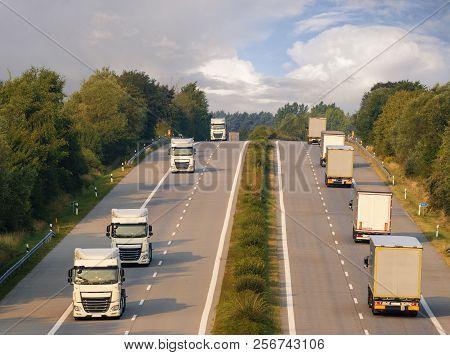 Trucks On The German Motorway, Germany,berlin City