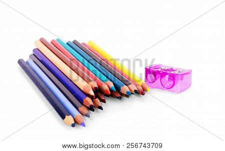 Color Pencils Isolated On White Background Close Up With Clipping Path.beautiful Color Pencils