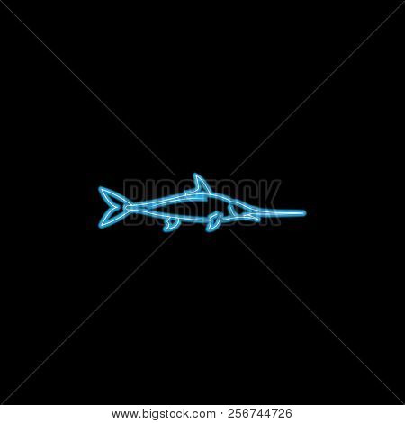 Swordfish Icon In Neon Style. One Of Sea Animals Collection Icon Can Be Used For Ui, Ux