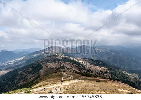 View From Kosarisko Hill In Western Part Of Nizke Tatry Mountains In Slovakia During Autumn Day With