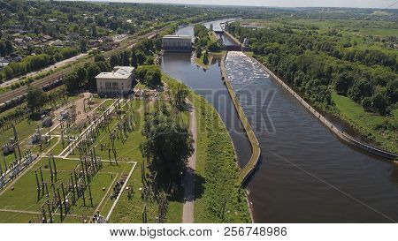 Sluice Gates On The River. Aerial View River Sluice Construction, Water River Gateway. Shipping Chan