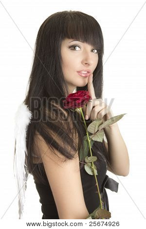 Beautiful Woman With Angel Wings, Rose And Finger Near Lips
