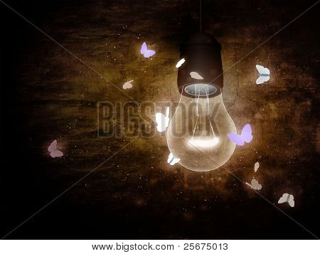 Bulb with moth
