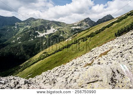 Ostry Rohac, Placlive And Smrek Peaks From Hiking Trail Above Jamnicka Dolina Valley In Zapadne Tatr