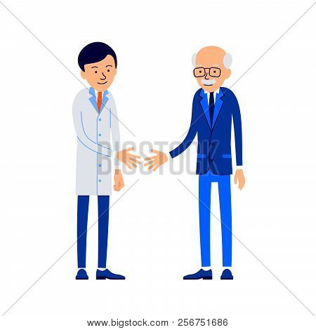 Doctor And Patient. Doctor Welcomes Patient. Therapist Stretches Out His Hand To Handshake Patient.