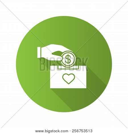 Donation Box Flat Design Long Shadow Glyph Icon. Moneybox. Fundraising. Donate Money To Charity. Han