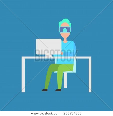 Interactive Reality Man Sitting By Laptop Wearing Special Glasses Allowing To See Different Things,
