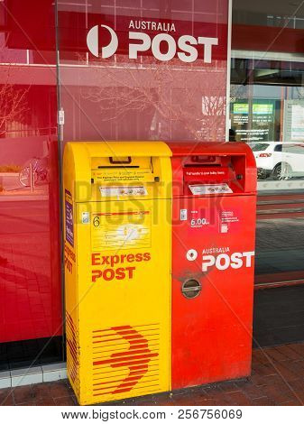 Melbourne, Australia - August 11, 2016: Australia Post Standard And Express Post Letterboxes In Box