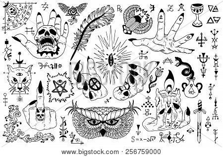 Tattoo Design Set With Gothic Icons And Mystic Symbols On White. Esoteric, Occult And Halloween Conc