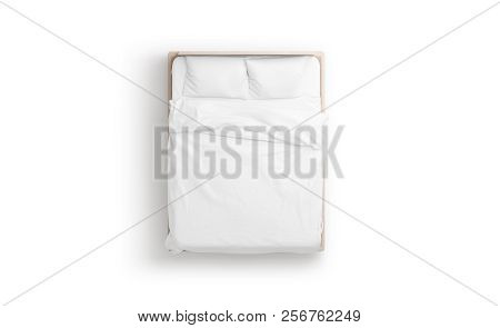 Blank White Bed Mock Up, Top View Isolated, 3d Rendering. Empty Blanket And Pillows Mockup In Bedste