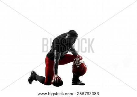 Active One American Football Player Isolated On White Background. Fit Caucasian Man In Uniform Posin