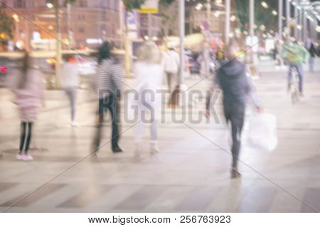 Abstract Bright Blurred Background With Unidentified People, Defocused Motion, Blurred Background, C