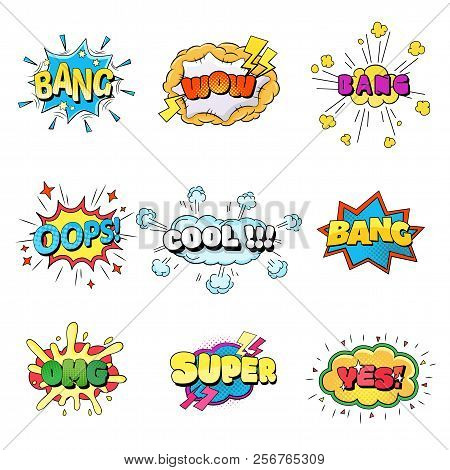 Set Of Speech Bubbles Comic Clouds. Thought, Speech Bubble, Dream Cloud. Wow, Boom, Cool, Lol Yes Ba