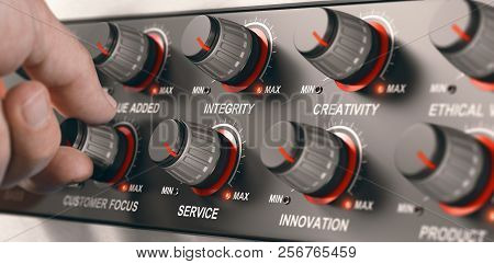 Man Turning A Button On A Dashbord With All Core Values Of A Company To Set It To The Maximum. Compo