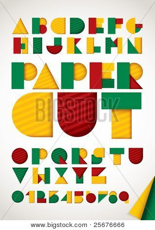 vector of colorful paper alphabet