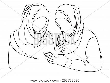 Continuous Single Drawn One Line Of Girlfriend Girl Muslim Girl Look Phone Drawn From The Hand Pictu