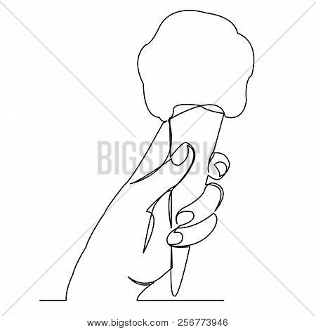 Continuous Single Drawn One Line Ice Cream In Hand Hand-drawn Picture Silhouette. Line Art.