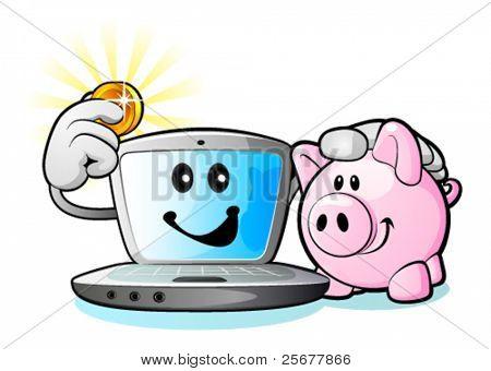 Laptop computer and Piggy Bank