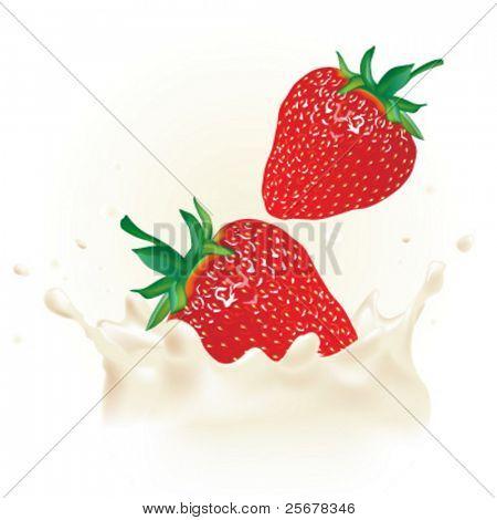 Realistic strawberry in vector milk