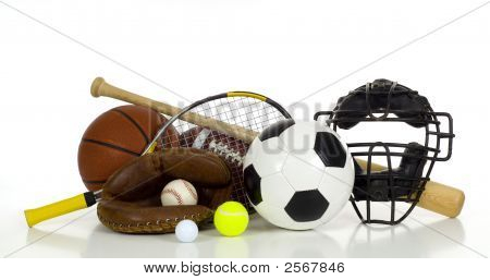 A variety of sports gear on a white background including tennis racket and ball a soocer or football an american football a baseball bat glove and catcher's mask and a basketball with copy space poster