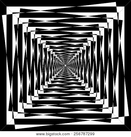 Abstract Arabesque Tunel Tower Multiple Perspective Black On Transparent Background