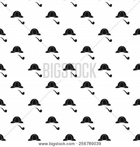 Detective Sherlock Holmes Hat And Smoking Pipe Pattern. Simple Illustration Of Detective Sherlock Ho