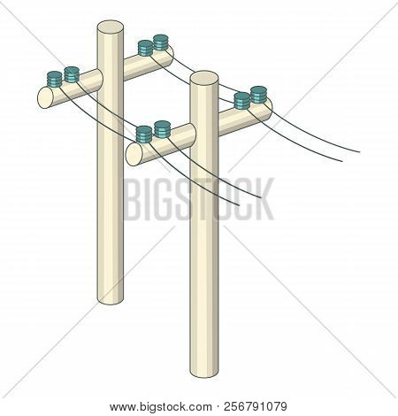 Poles With Wires Icon. Cartoon Illustration Of Poles With Wires Icon For Web