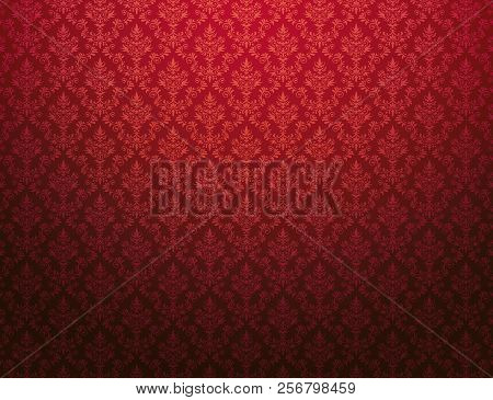 Red Damask Wallpaper Background With Floral Patterns