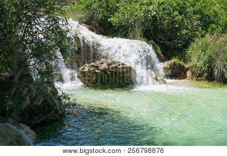 Beautiful Waterfall In Natural Environment. Lagunas De Ruidera. Castilla La Mancha. Spain.