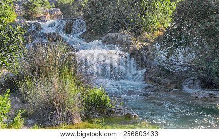 River In Natural Environment. Natural Park Lagunas De Ruidera. Castilla La Mancha. Spain.