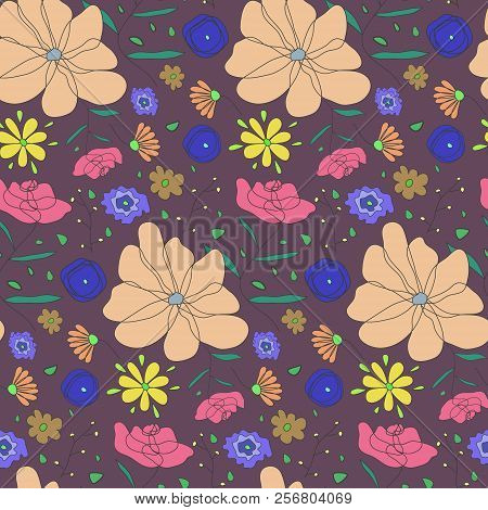 Autumn Colors Seamless Pattern With Sketchy Colorful Flowers. Ditsy Floral Texture On Dark Brown Bac